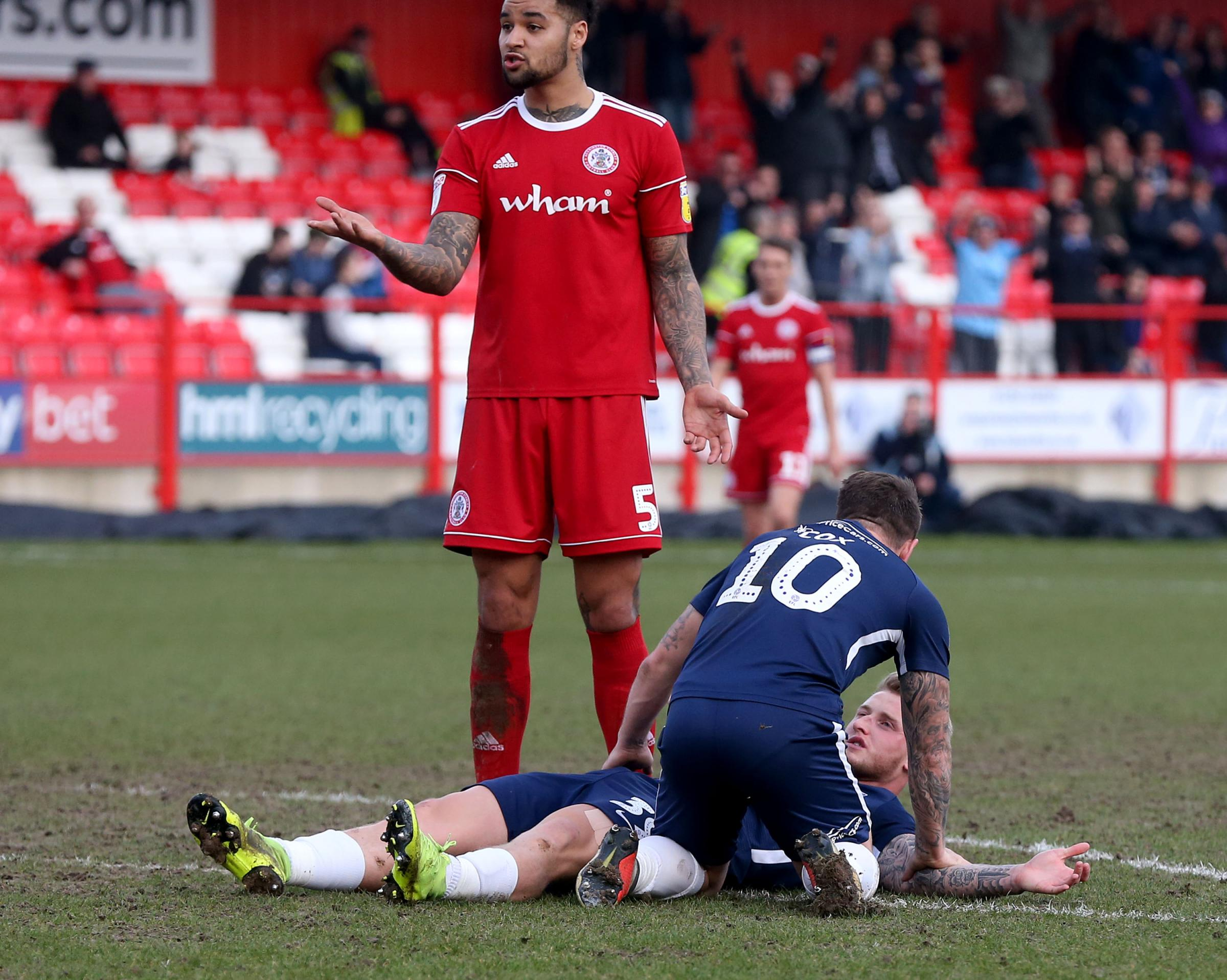 Painful - Stephen Humphrys broke his nose when scoring at Accrington Stanley