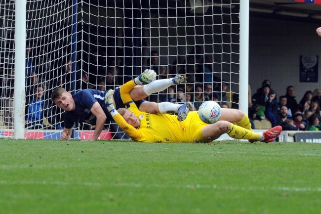 Thwarted - Southend United striker Charlie Kelman is denied by Barnsley goalkeeper Adam Davies