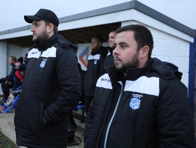Enjoying the challenge - James Wakeling (right) is leading the way during Hullbridge Sports boss Darren Manning's three-match stadium ban Picture: NEIL HUNWICKS