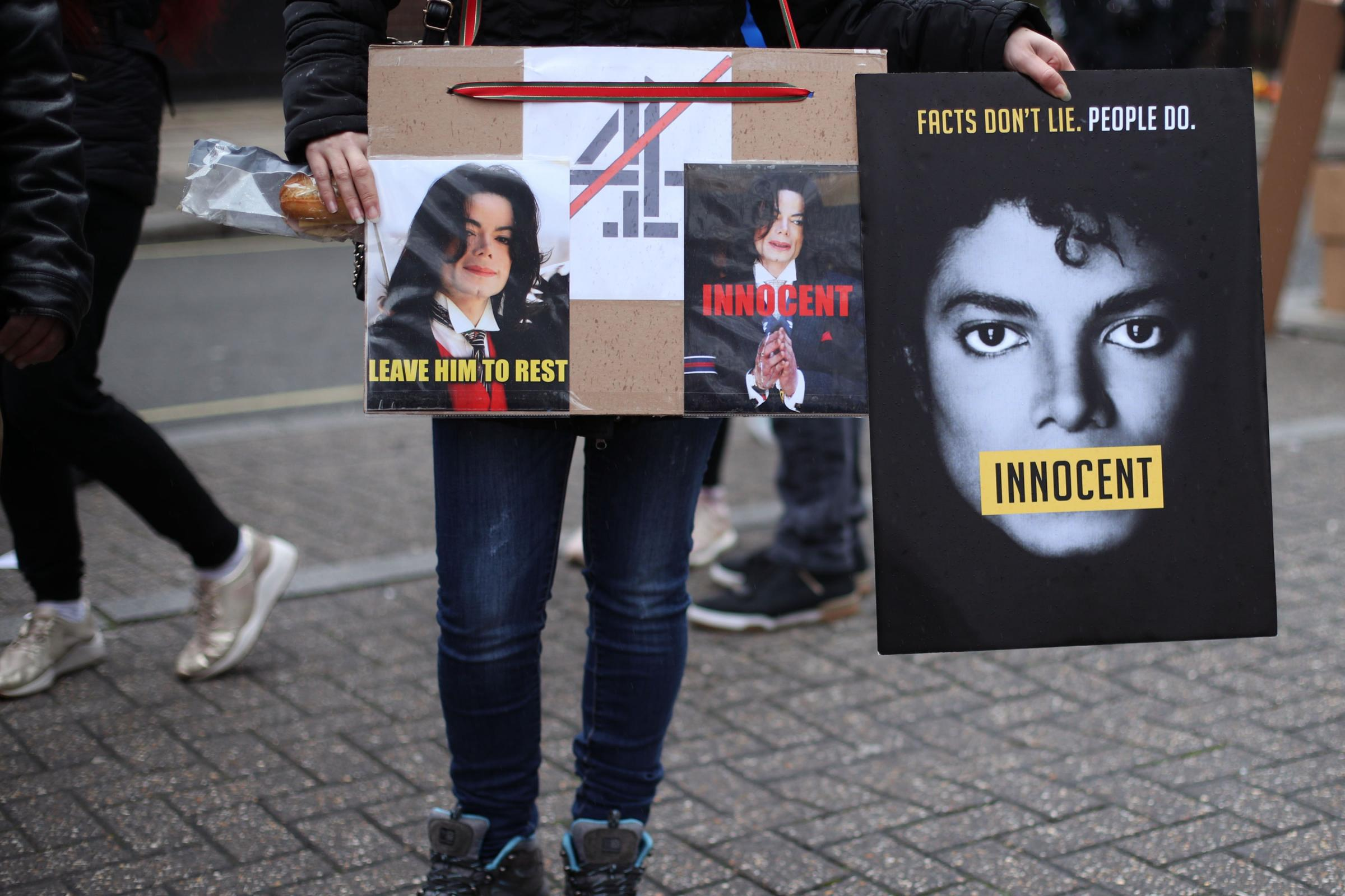 Michael Jackson fans protest outside Channel 4's London HQ ahead of the screening of the documentary Leaving Neverland