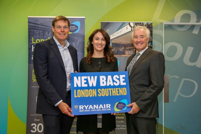 Launch - Stobart Group Chief executive Warwick Brady, Ryanair Head of Sales Chiara Ravara and Stobart Aviation boss Glyn Jones