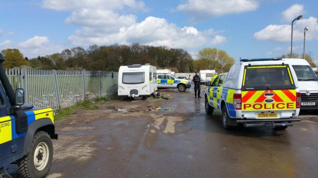 Police at the unauthorised encampment in Oak Lane. Picture: Essex Police GTRET