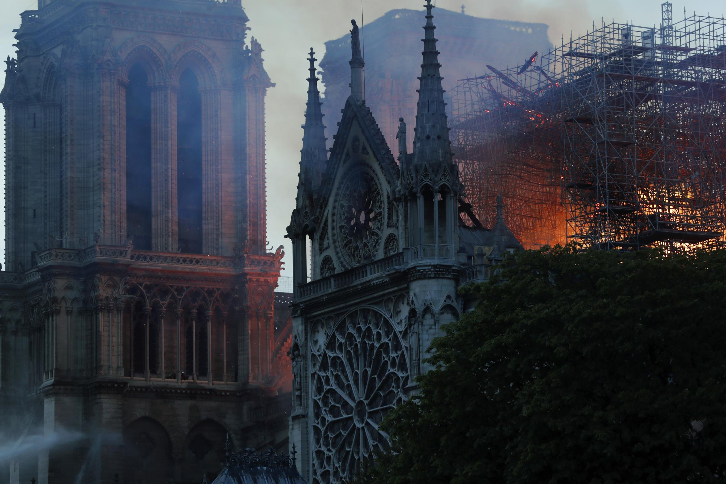 Flames and smoke rise from Notre Dame Cathedral