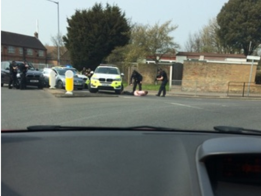 Man pinned to the ground and arrested after reports of 'armed drug gang'