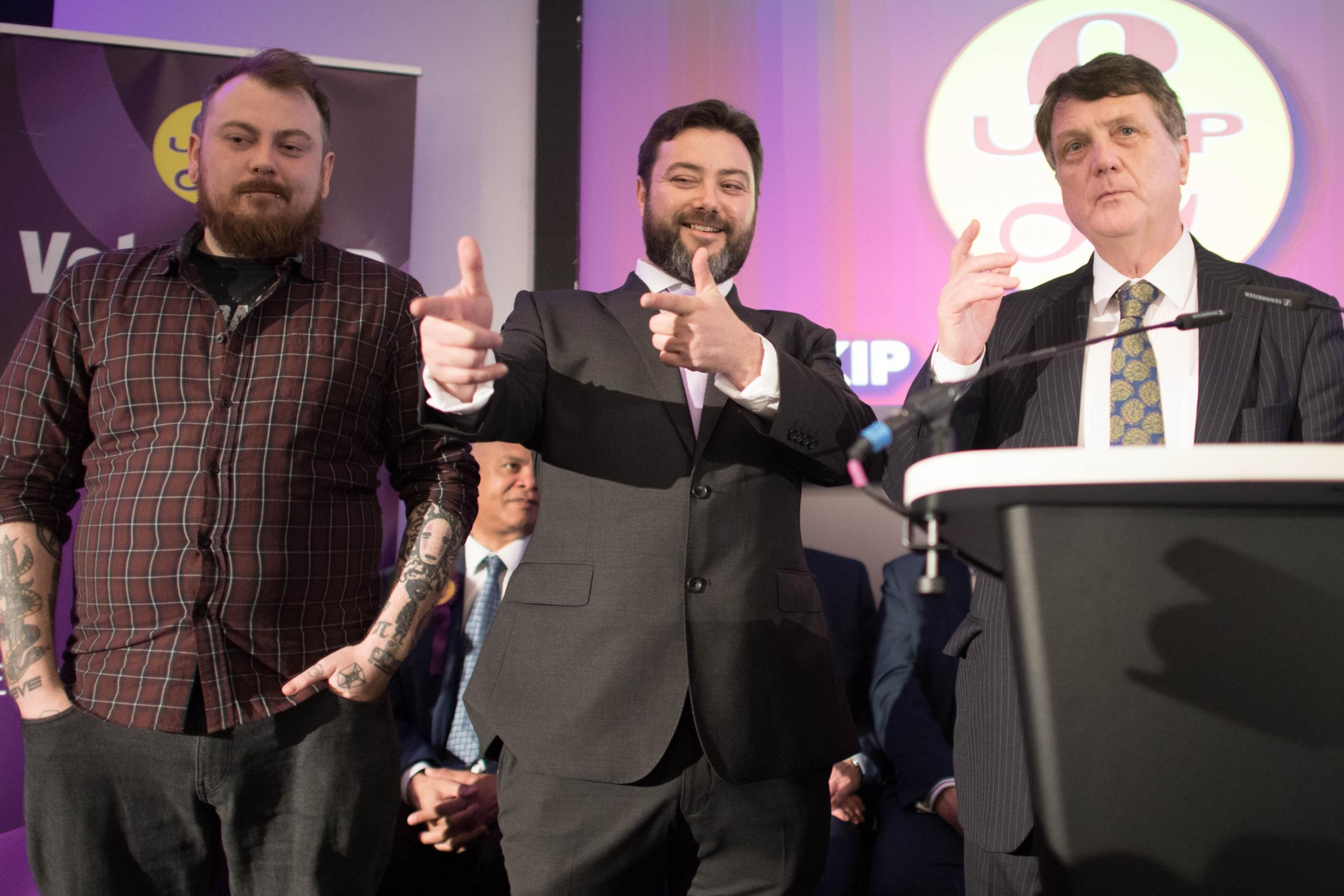 Ukip candidate Carl Benjamin gestures during the launch of the party's European Parliament election campaign