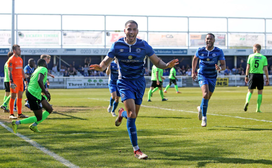 Broke the deadlock - Joe Kizzi celebrates after putting Billericay Town in front against Hemel Hempstead Town Picture: NICKY HAYES/iCORE LTD
