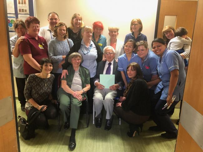 Retiring - John Thorogood with staff and volunteers at Southend Hospital
