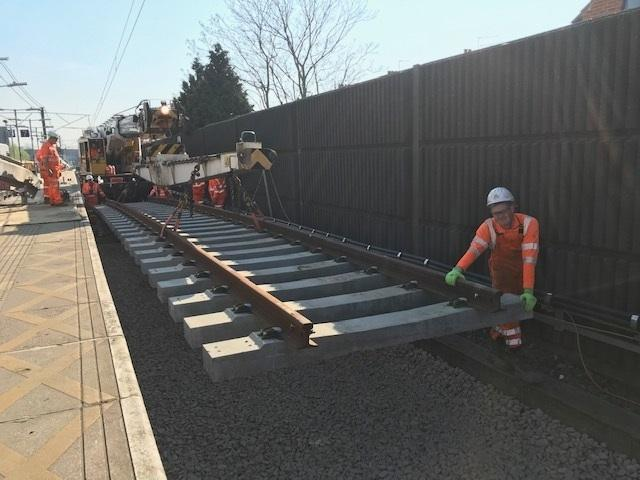 At work - Network Rail engineers worked over the Easter weekend