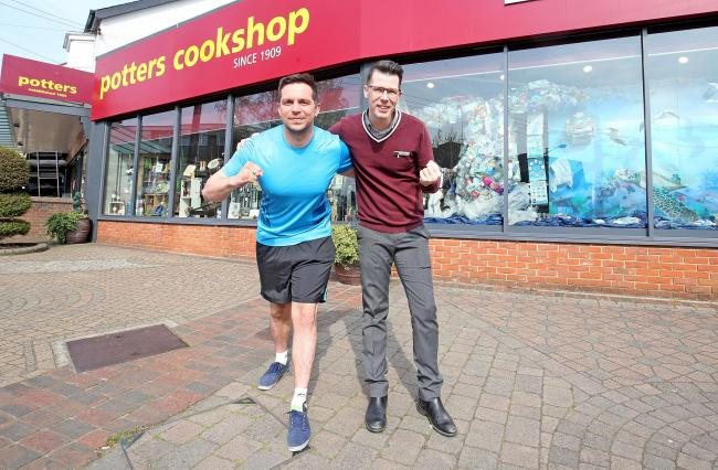 Ready to run - Echosport's Chris Phillips with Potters Cookshop's Tom Carter outside the Hockley-based store