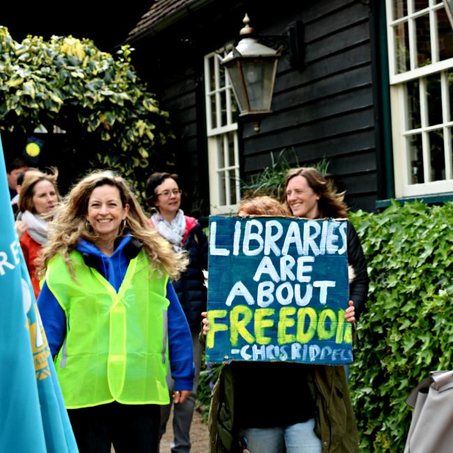Young People library protest noisy march on Saturday, april 27