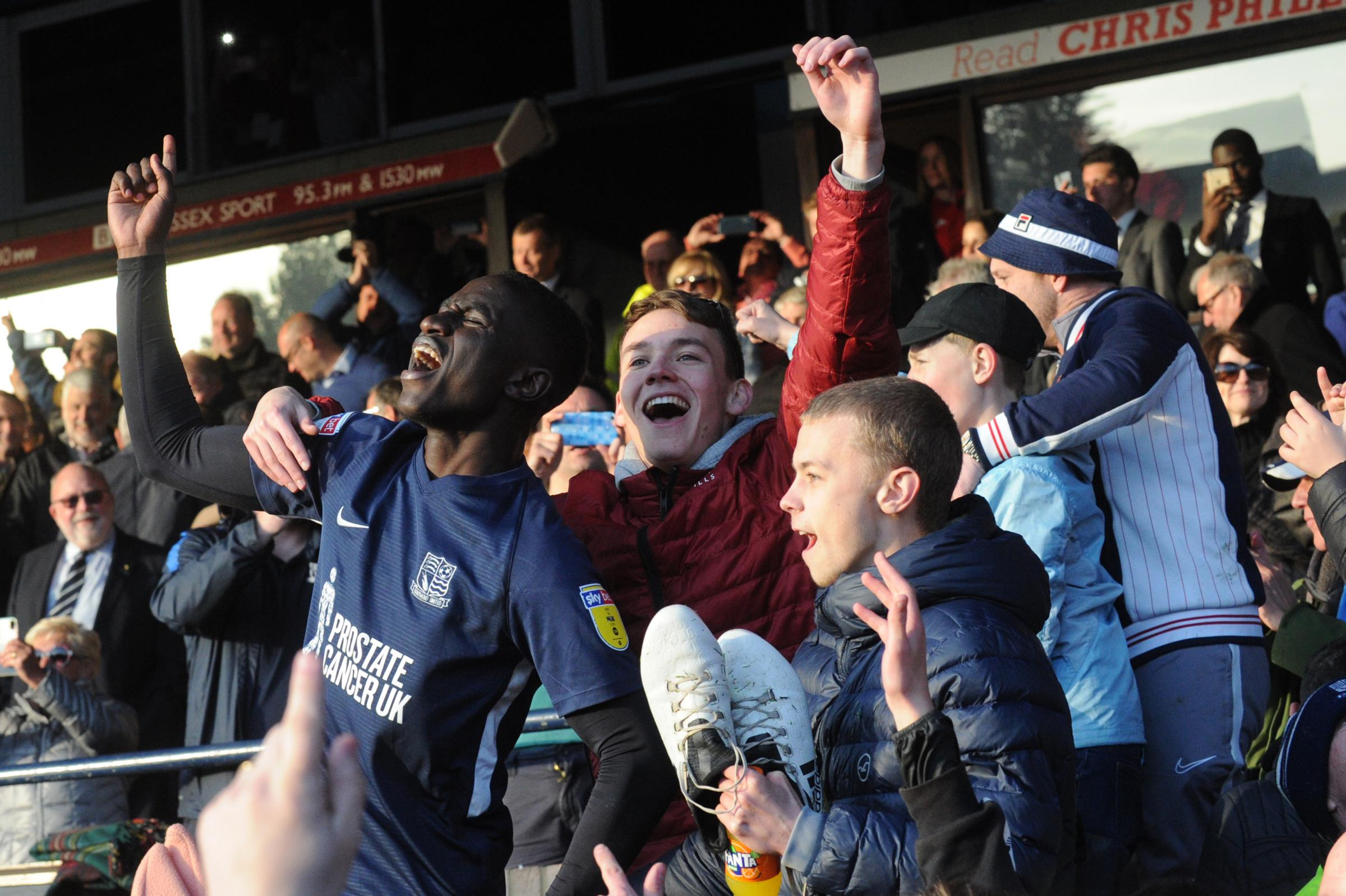 Showing his relief - Southend United defender Elvis Bwomono celebrates staying up