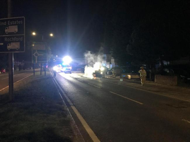 Firefighters tackle Porsche on fire at Prince Avenue, Southend