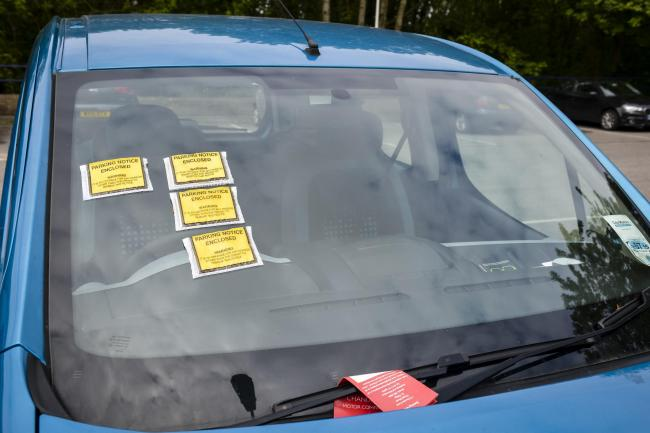 Parking ticket on car