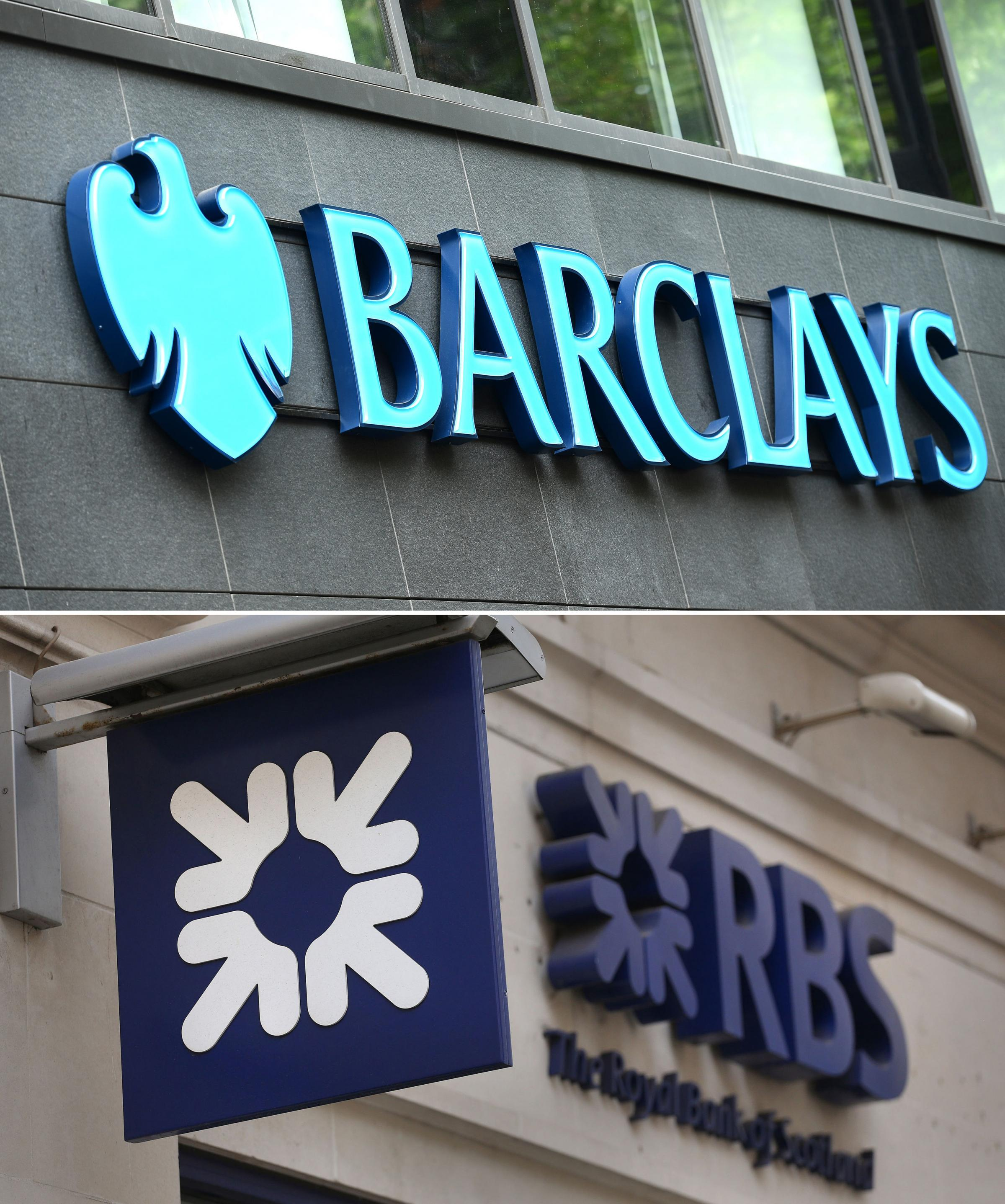 File photos of a Barclays sign and a Royal Bank of Scotland (RBS) sign. The two banks are among five slapped with a 1.07 billion euro (??930 million) fine for taking part ina foreign exchange trading cartel, the European Commission has announced. PRESS A