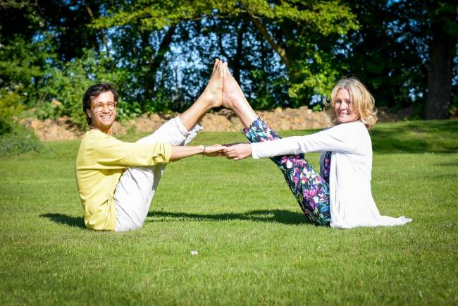 Yoga fun - Paula Mayura and Josh Lipscombe, from Southend, will be on hand to help at the festival