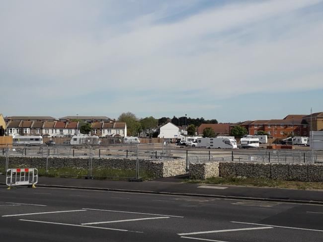 Spotted- travellers pitched up on the Gas Works car park, but were moved at around 9am this morning