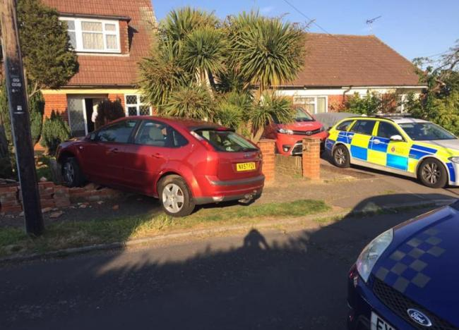 Car crashes through wall in Branch Road Hadleigh