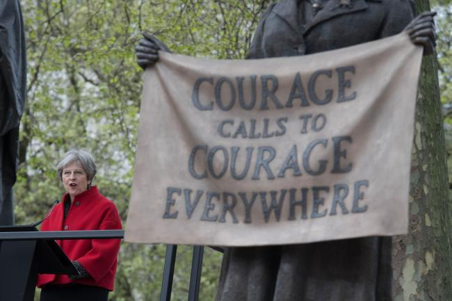 Prime Minister Theresa May at the unveiling of the statue of suffragist leader Millicent Fawcett in Parliament Square, London