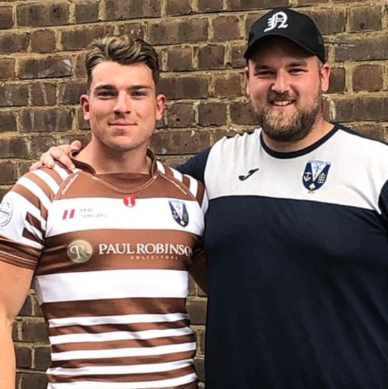 New signing - Ben Law with Southend Saxons' director of rugby Josh Ward