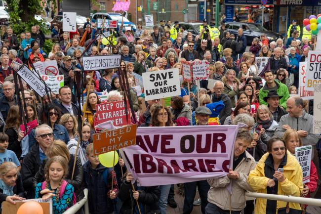 Protests - campaigners march to save libraries earlier this year