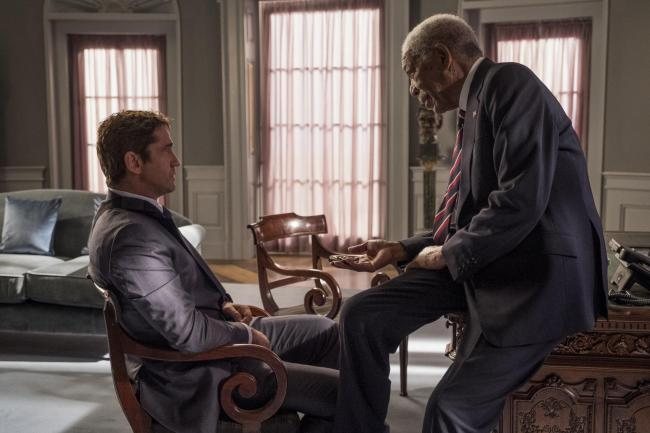 Gerard Butler and Morgan Freeman in Angel Has Fallen